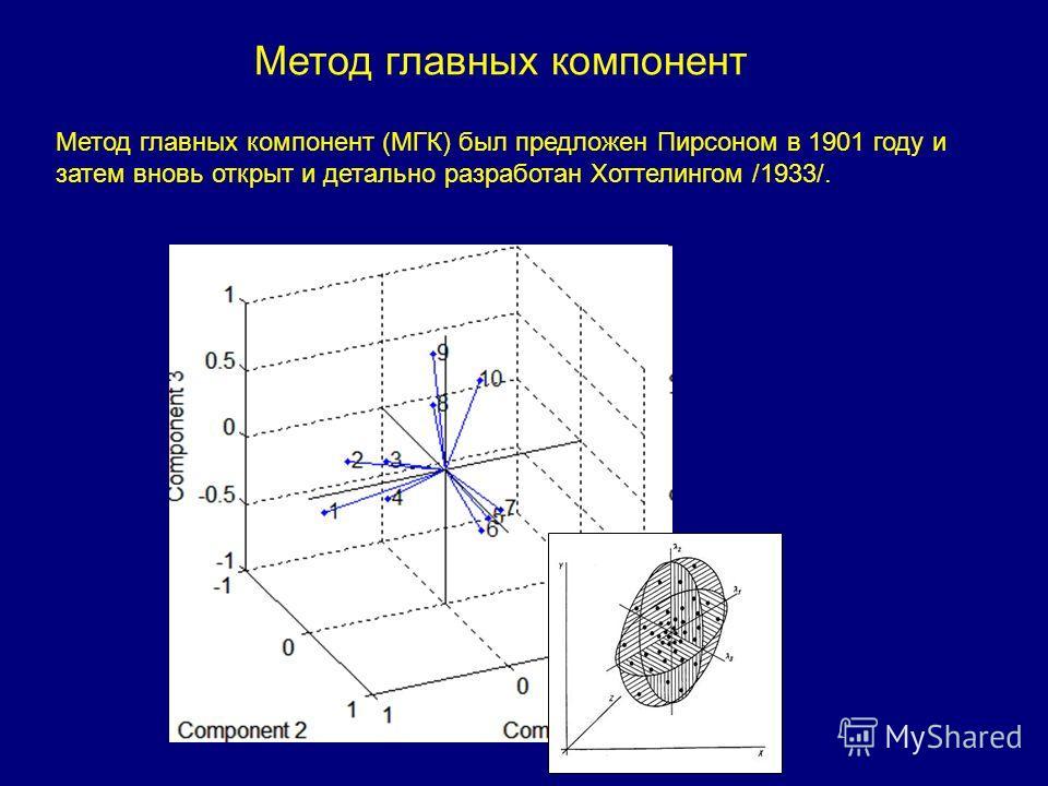 Метод главных компонент Метод главных компонент (МГК) был предложен Пирсоном в 1901 году и затем вновь открыт и детально разработан Хоттелингом /1933/.