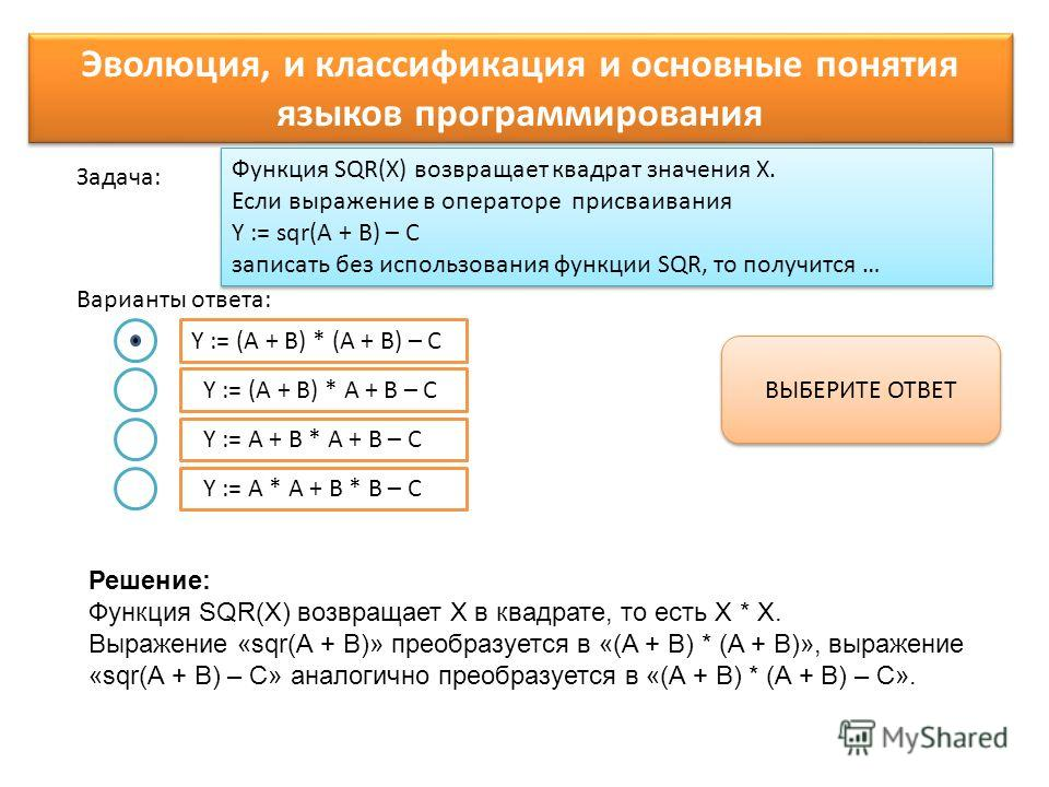 Функция SQR(X) возвращает квадрат значения Х. Если выражение в операторе присваивания Y := sqr(A + B) – C записать без использования функции SQR, то получится … Варианты ответа: Задача: Y := (A + B) * (A + B) – C Y := (A + B) * A + B – C Y := A + B *