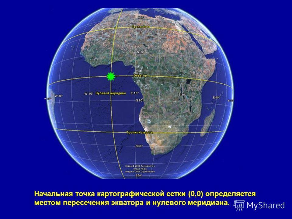 Начальная точка картографической сетки (0,0) определяется местом пересечения экватора и нулевого меридиана.