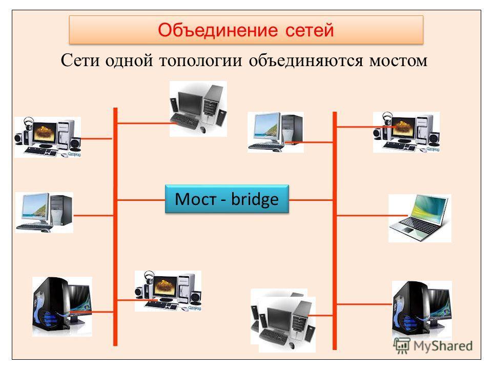 Сети одной топологии объединяются мостом Объединение сетей Мост - bridge
