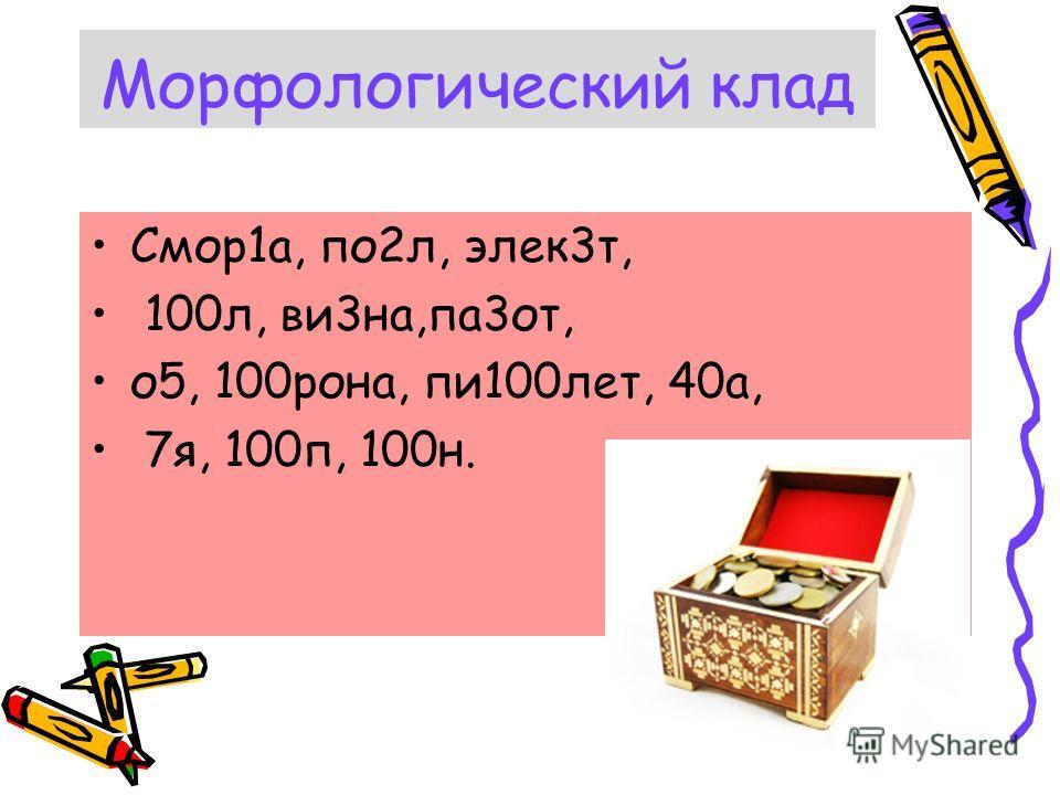 Морфологический клад Смор1а, по2л, элек3т, 100л, ви3на,па3от, о5, 100рона, пи100лет, 40а, 7я, 100п, 100н.