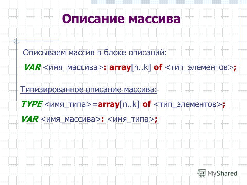 Описание массива Описываем массив в блоке описаний: VAR : array[n..k] of ; Типизированное описание массива: TYPE =array[n..k] of ; VAR : ;