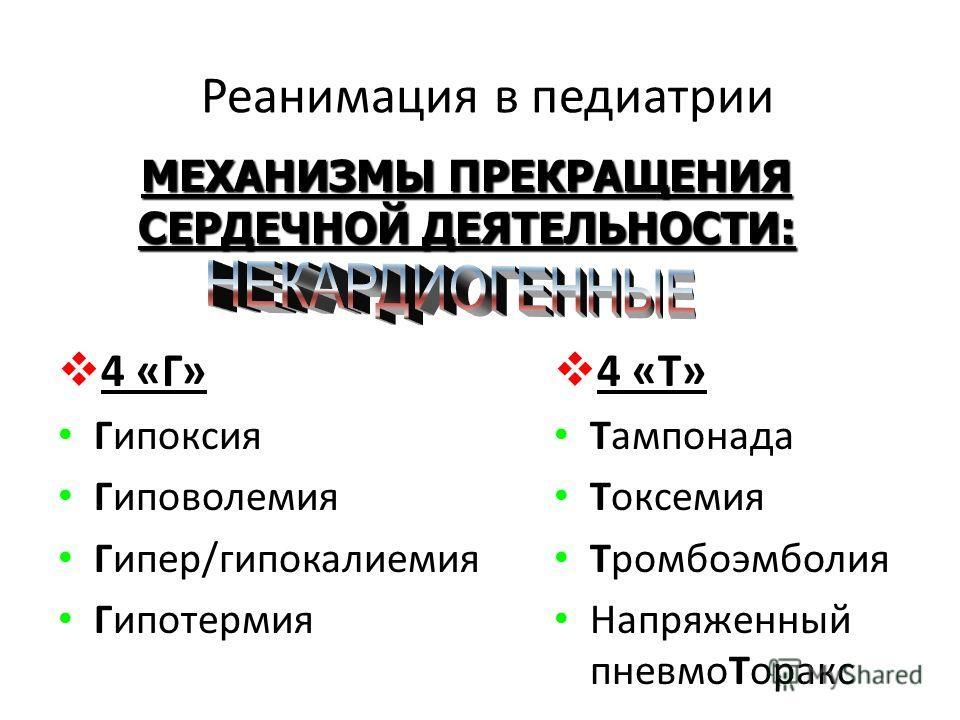 Реанимация в педиатрии 4 «Г» Гипоксия Гиповолемия Гипер/гипокалиемия Гипотермия 4 «Т» Тампонада Токсемия Тромбоэмболия Напряженный пневмоТоракс МЕХАНИЗМЫ ПРЕКРАЩЕНИЯ СЕРДЕЧНОЙ ДЕЯТЕЛЬНОСТИ:
