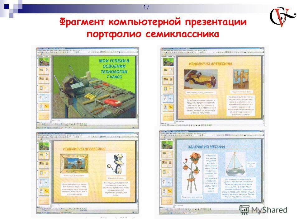 Фрагмент компьютерной презентации портфолио семиклассника 17