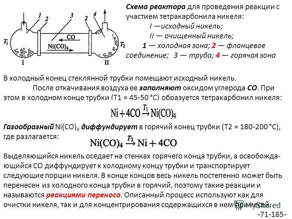 Схема реактора для проведения реакции с участием тетракарбонила никеля: I исходный никель; II очищенный никель; 1 холодная зона; 2 фланцевое соединение; 3 труба; 4 горячая зона В холодный конец стеклянной трубки помещают исходный никель. После откачи