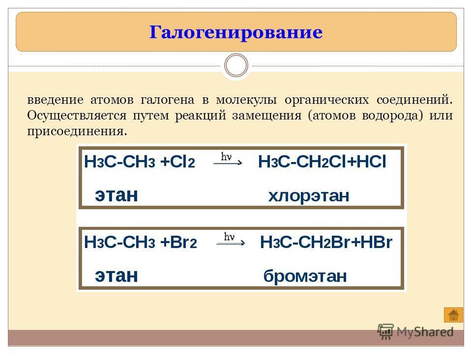 Галогенирование введение атомов галогена в молекулы органических соединений. Осуществляется путем реакций замещения (атомов водорода) или присоединения.