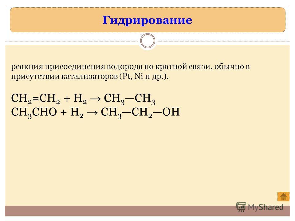 Гидрирование реакция присоединения водорода по кратной связи, обычно в присутствии катализаторов (Pt, Ni и др.). СН 2 =СН 2 + Н 2 СН 3 СН 3 СН 3 СНО + Н 2 СН 3 СН 2 ОН