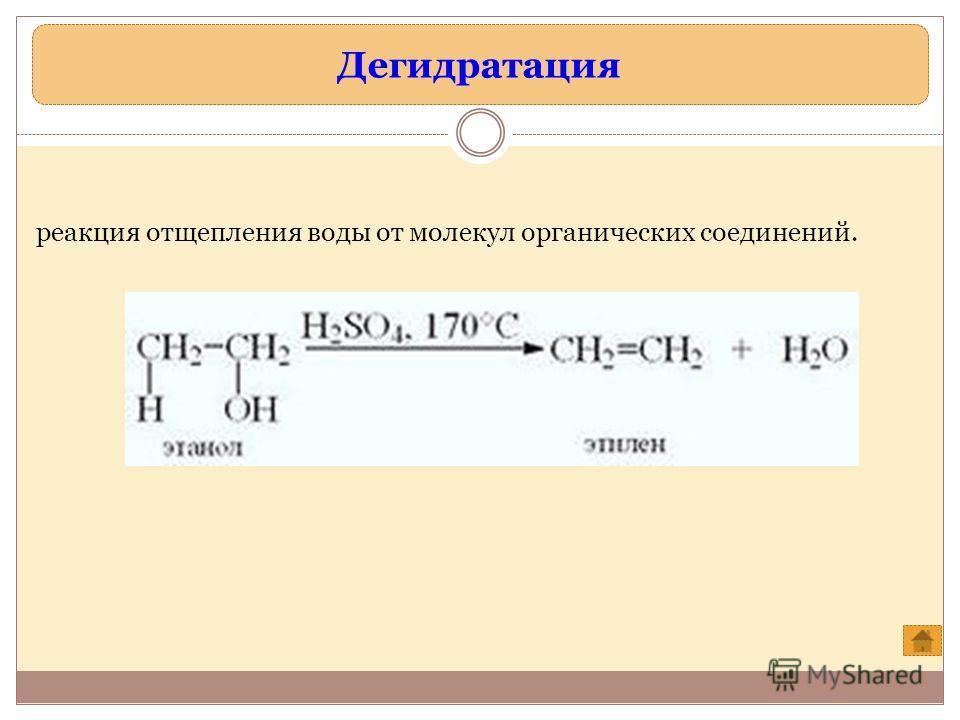 Дегидратация реакция отщепления воды от молекул органических соединений.