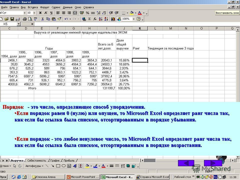 Порядок - это число, определяющее способ упорядочения. Если порядок равен 0 (нулю) или опущен, то Microsoft Excel определяет ранг числа так, как если бы ссылка была списком, отсортированным в порядке убывания.Если порядок равен 0 (нулю) или опущен, т