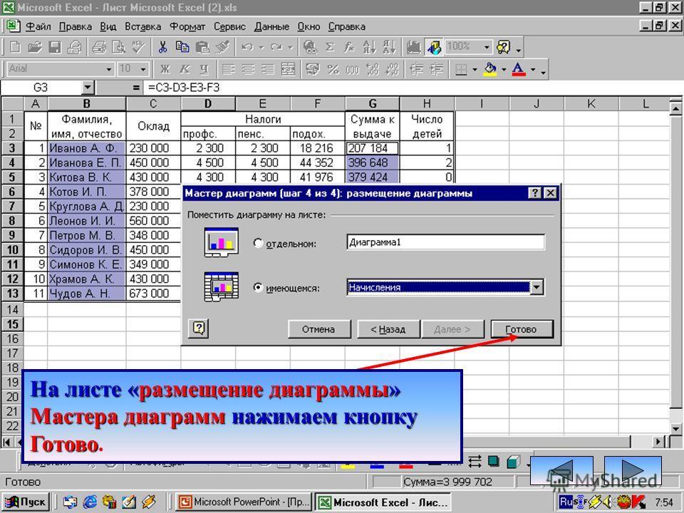 На листе «параметры диаграммы» диаграммы» Мастера Диаграмм выбираем вкладку вкладку Подписи данных – Доля и нажимаем кнопку Далее.
