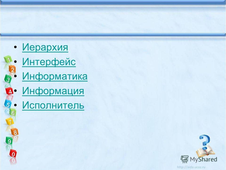 Иерархия Интерфейс Информатика Информация Исполнитель