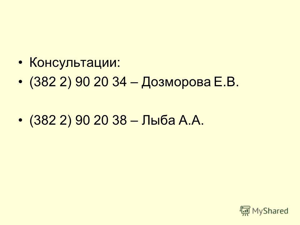 Консультации: (382 2) 90 20 34 – Дозморова Е.В. (382 2) 90 20 38 – Лыба А.А.