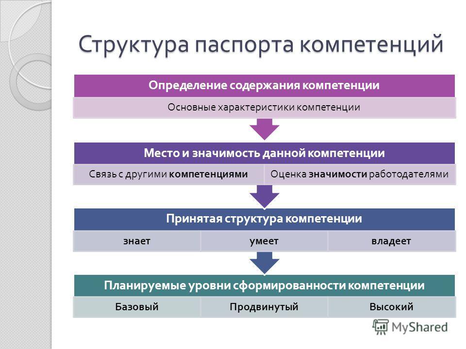 Структура паспорта компетенций Планируемые уровни сформированности компетенции БазовыйПродвинутыйВысокий Принятая структура компетенции знаетумеетвладеет Место и значимость данной компетенции Связь с другими компетенциямиОценка значимости работодател