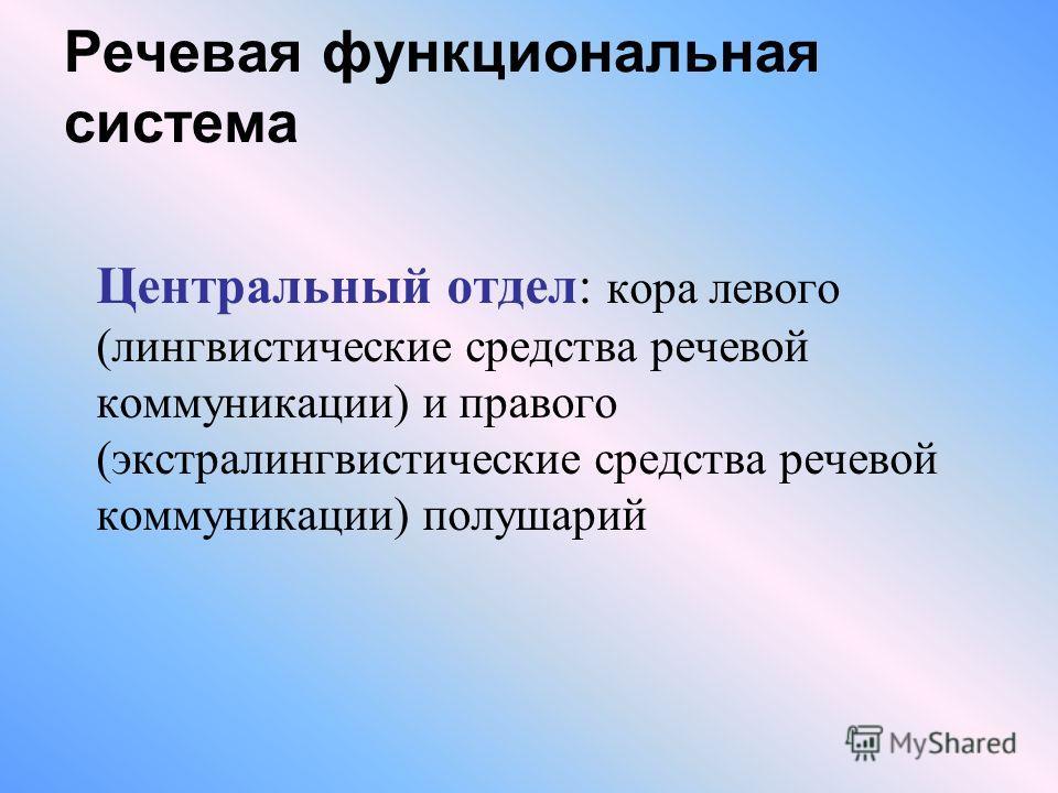 Речевая функциональная система Центральный отдел: кора левого (лингвистические средства речевой коммуникации) и правого (экстралингвистические средства речевой коммуникации) полушарий