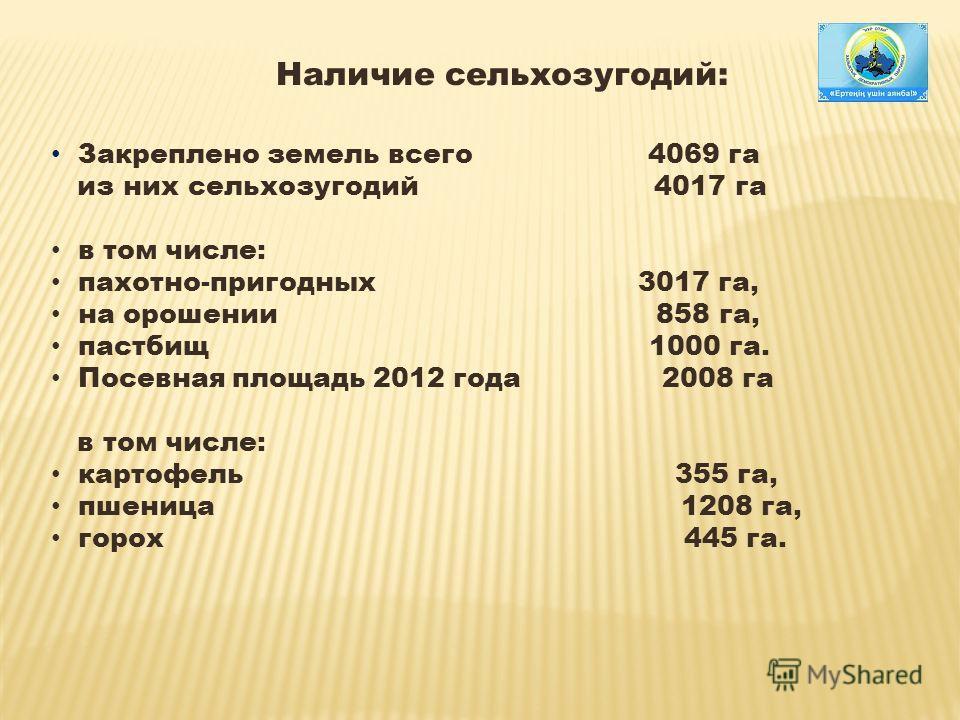 Наличие сельхозугодий: Закреплено земель всего 4069 га из них сельхозугодий 4017 га в том числе: пахотно-пригодных 3017 га, на орошении 858 га, пастбищ 1000 га. Посевная площадь 2012 года 2008 га в том числе: картофель 355 га, пшеница 1208 га, горох