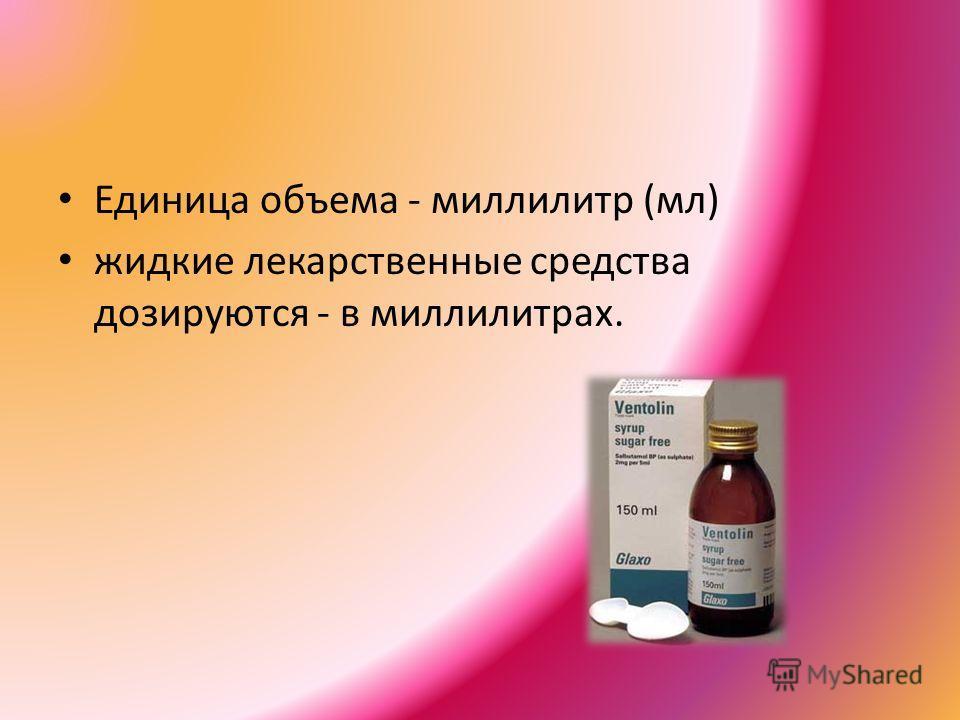 Единица объема - миллилитр (мл) жидкие лекарственные средства дозируются - в миллилитрах.