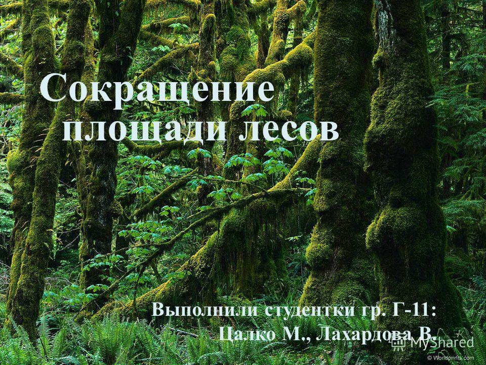 Сокращение площади лесов Выполнили студентки гр. Г -11: Цалко М., Лахардова В.