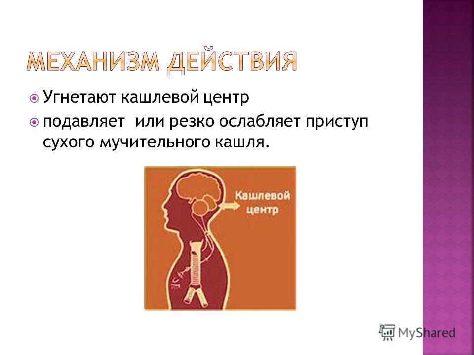 Угнетают кашлевой центр подавляет или резко ослабляет приступ сухого мучительного кашля.