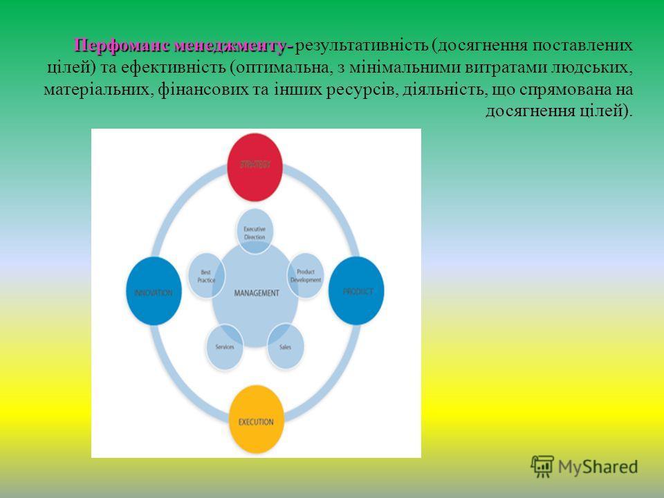 Перфоманс менеджменту- Перфоманс менеджменту- результативність (досягнення поставлених цілей) та ефективність (оптимальна, з мінімальними витратами людських, матеріальних, фінансових та інших ресурсів, діяльність, що спрямована на досягнення цілей).