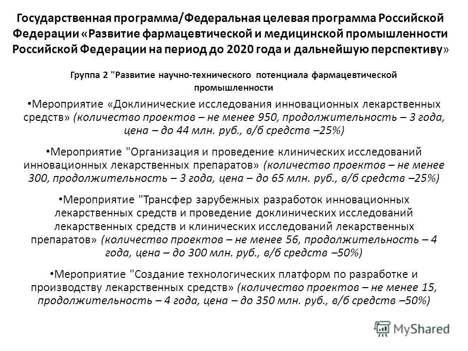 Государственная программа/Федеральная целевая программа Российской Федерации «Развитие фармацевтической и медицинской промышленности Российской Федерации на период до 2020 года и дальнейшую перспективу» Группа 2