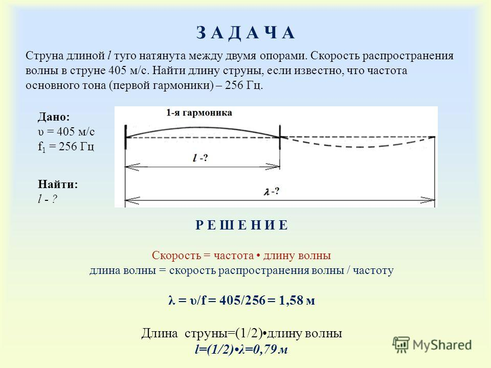 З А Д А Ч АЗ А Д А Ч А Дано: υ = 405 м/с f 1 = 256 Гц Найти: l - ? Р Е Ш Е Н И Е Cкорость = частота длину волны длина волны = скорость распространения волны / частоту λ = υ/f = 405/256 = 1,58 м Длина струны=(1/2)длину волны l=(1/2)λ=0,79 м Струна дли