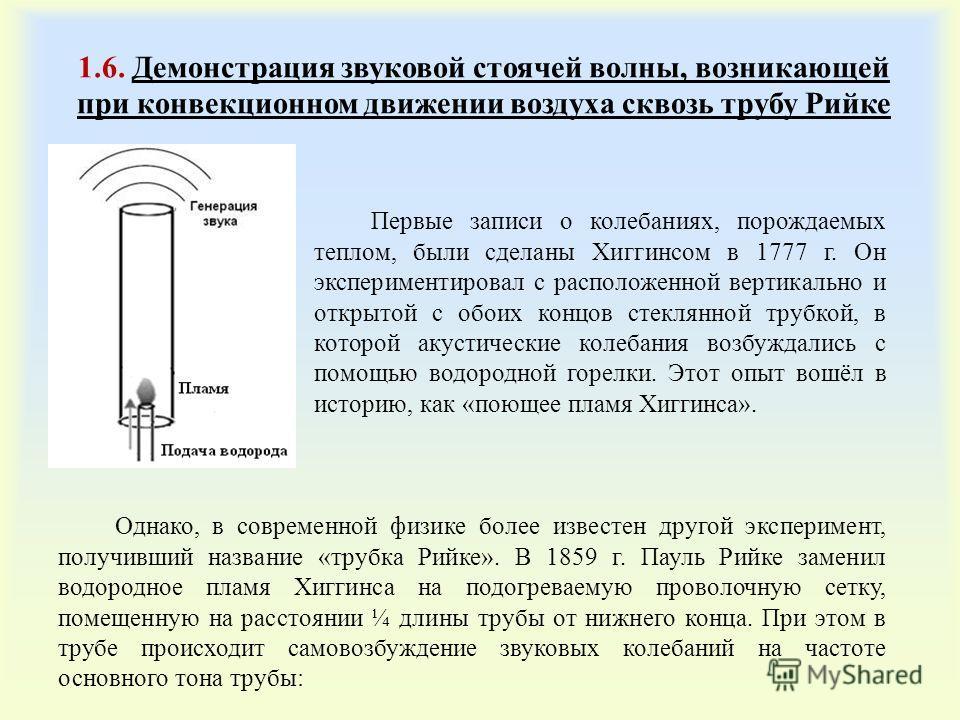 1.6. Демонстрация звуковой стоячей волны, возникающей при конвекционном движении воздуха сквозь трубу Рийке Первые записи о колебаниях, порождаемых теплом, были сделаны Хиггинсом в 1777 г. Он экспериментировал с расположенной вертикально и открытой с