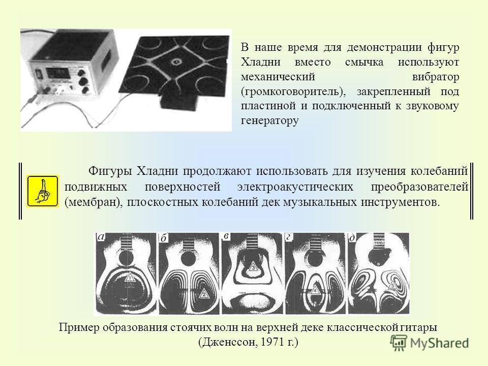 В наше время для демонстрации фигур Хладни вместо смычка используют механический вибратор (громкоговоритель), закрепленный под пластиной и подключенный к звуковому генератору Фигуры Хладни продолжают использовать для изучения колебаний подвижных пове