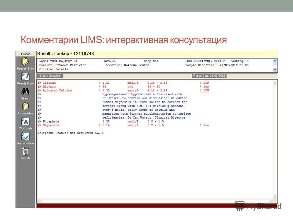 Комментарии LIMS: интерактивная консультация