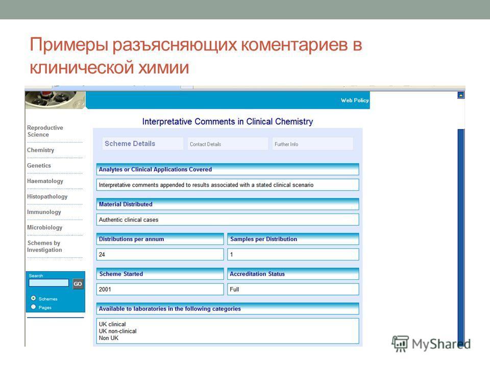 Примеры разъясняющих коментариев в клинической химии