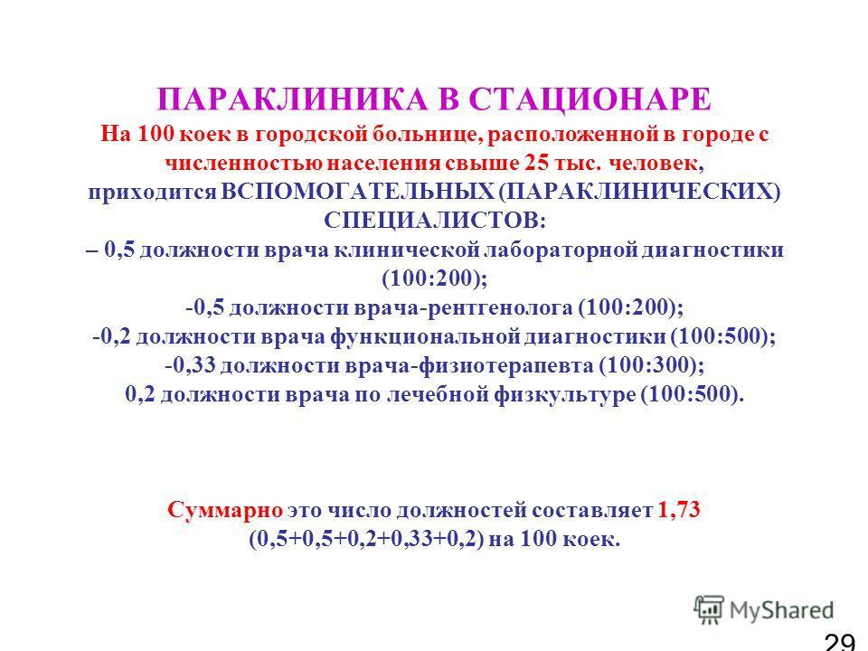 ПАРАКЛИНИКА В СТАЦИОНАРЕ На 100 коек в городской больнице, расположенной в городе с численностью населения свыше 25 тыс. человек, приходится ВСПОМОГАТЕЛЬНЫХ (ПАРАКЛИНИЧЕСКИХ) СПЕЦИАЛИСТОВ: – 0,5 должности врача клинической лабораторной диагностики (1