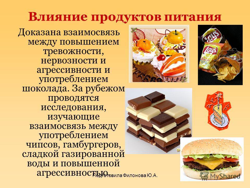 Влияние продуктов питания Доказана взаимосвязь между повышением тревожности, нервозности и агрессивности и употреблением шоколада. За рубежом проводятся исследования, изучающие взаимосвязь между употреблением чипсов, гамбургеров, сладкой газированной
