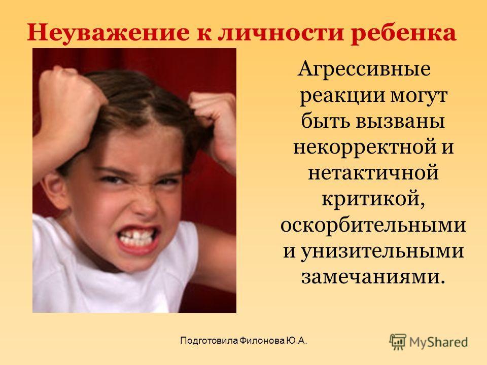 Неуважение к личности ребенка Агрессивные реакции могут быть вызваны некорректной и нетактичной критикой, оскорбительными и унизительными замечаниями. Подготовила Филонова Ю.А.