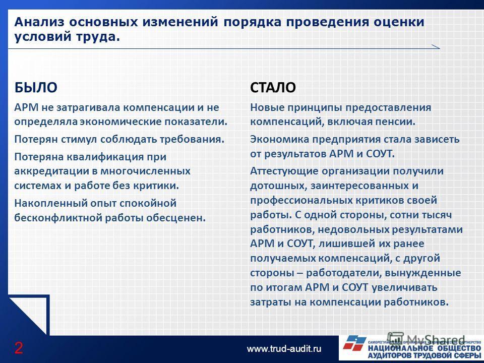 LOGO www.trud-audit.ru Анализ основных изменений порядка проведения оценки условий труда. 2 БЫЛО АРМ не затрагивала компенсации и не определяла экономические показатели. Потерян стимул соблюдать требования. Потеряна квалификация при аккредитации в мн
