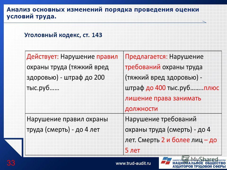 LOGO www.trud-audit.ru Анализ основных изменений порядка проведения оценки условий труда. 33 Уголовный кодекс, ст. 143