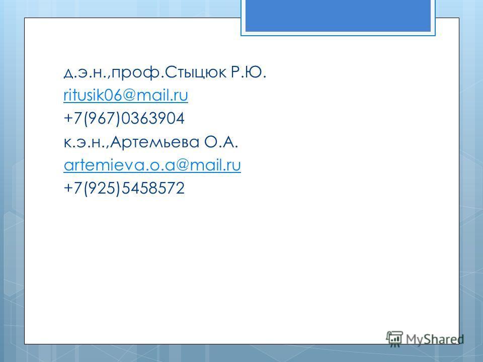 д.э.н.,проф.Стыцюк Р.Ю. ritusik06@mail.ru +7(967)0363904 к.э.н.,Артемьева О.А. artemieva.o.a@mail.ru +7(925)5458572