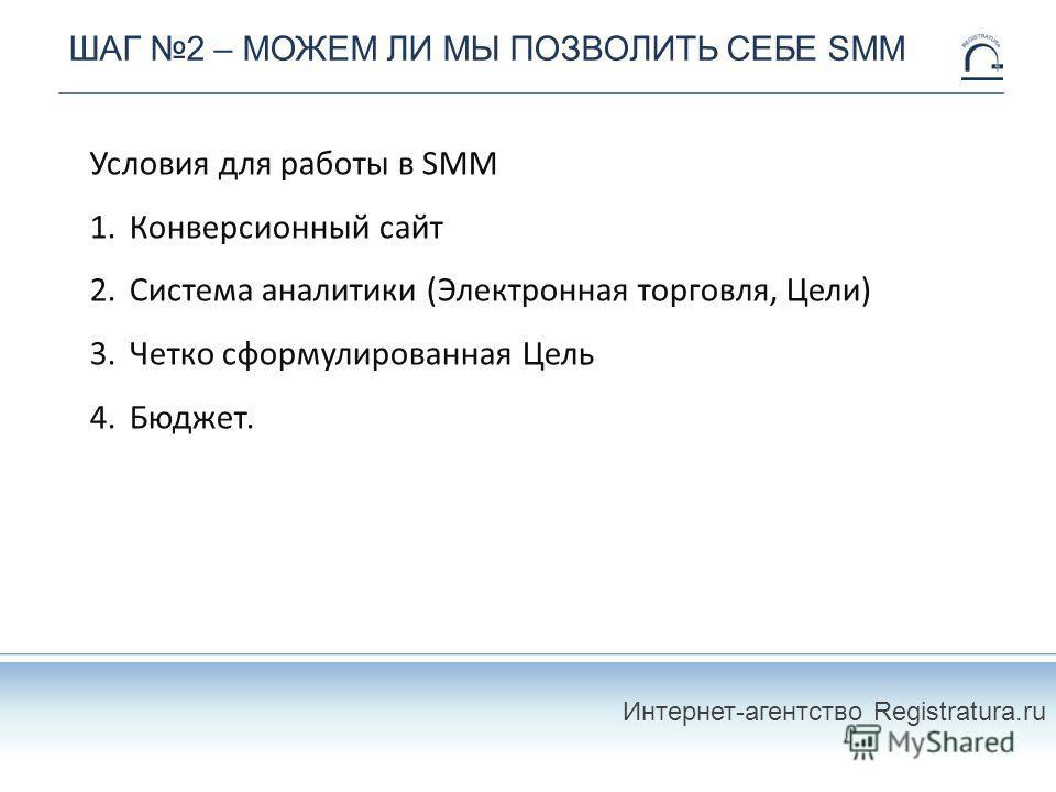ШАГ 2 – МОЖЕМ ЛИ МЫ ПОЗВОЛИТЬ СЕБЕ SMM Условия для работы в SMM 1.Конверсионный сайт 2.Система аналитики (Электронная торговля, Цели) 3.Четко сформулированная Цель 4.Бюджет. Интернет-агентство Registratura.ru