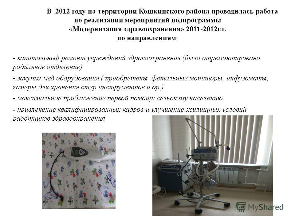 В 2012 году на территории Кошкинского района проводилась работа по реализации мероприятий подпрограммы «Модернизация здравоохранения» 2011-2012г.г. по направлениям: - капитальный ремонт учреждений здравоохранения (было отремонтировано родильное отдел