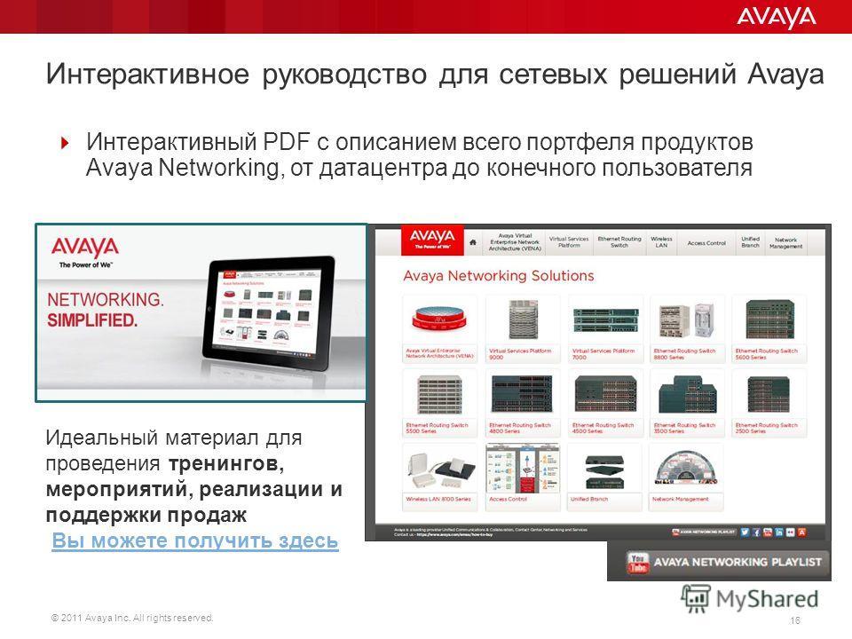 © 2011 Avaya Inc. All rights reserved. 16 Интерактивный PDF с описанием всего портфеля продуктов Avaya Networking, от датацентра до конечного пользователя Идеальный материал для проведения тренингов, мероприятий, реализации и поддержки продаж Вы може