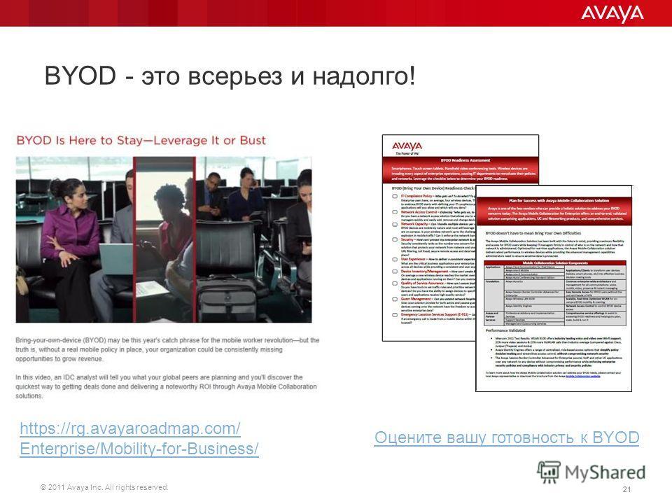 © 2011 Avaya Inc. All rights reserved. 21 BYOD - это всерьез и надолго! https://rg.avayaroadmap.com/ Enterprise/Mobility-for-Business/ Оцените вашу готовность к BYOD