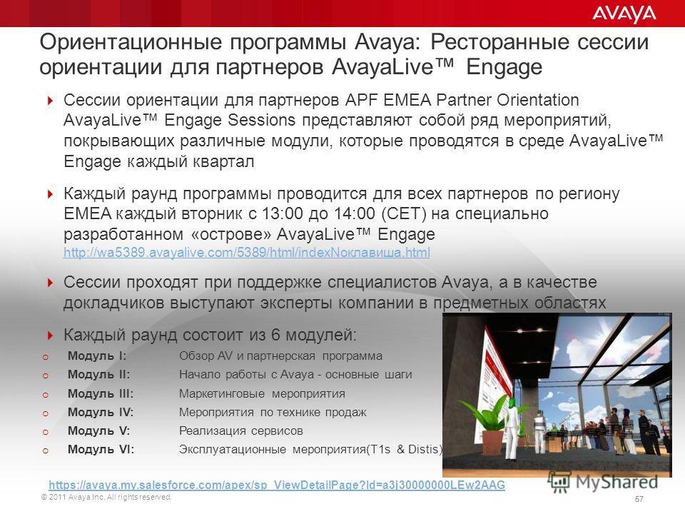 © 2011 Avaya Inc. All rights reserved. 57 Сессии ориентации для партнеров APF EMEA Partner Orientation AvayaLive Engage Sessions представляют собой ряд мероприятий, покрывающих различные модули, которые проводятся в среде AvayaLive Engage каждый квар
