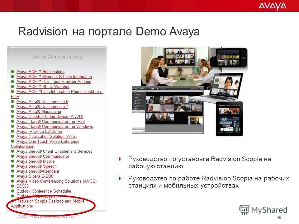© 2011 Avaya Inc. All rights reserved. 65 Radvision на портале Demo Avaya Руководство по установке Radvision Scopia на рабочую станцию Руководство по работе Radvision Scopia на рабочих станциях и мобильных устройствах