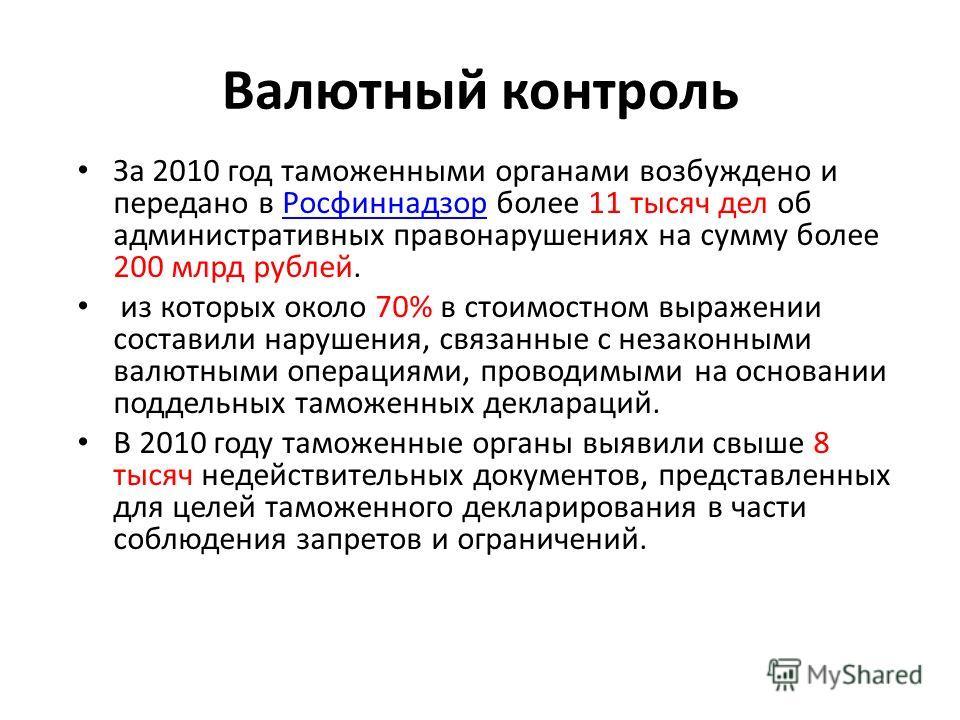Валютный контроль За 2010 год таможенными органами возбуждено и передано в Росфиннадзор более 11 тысяч дел об административных правонарушениях на сумму более 200 млрд рублей.Росфиннадзор из которых около 70% в стоимостном выражении составили нарушени