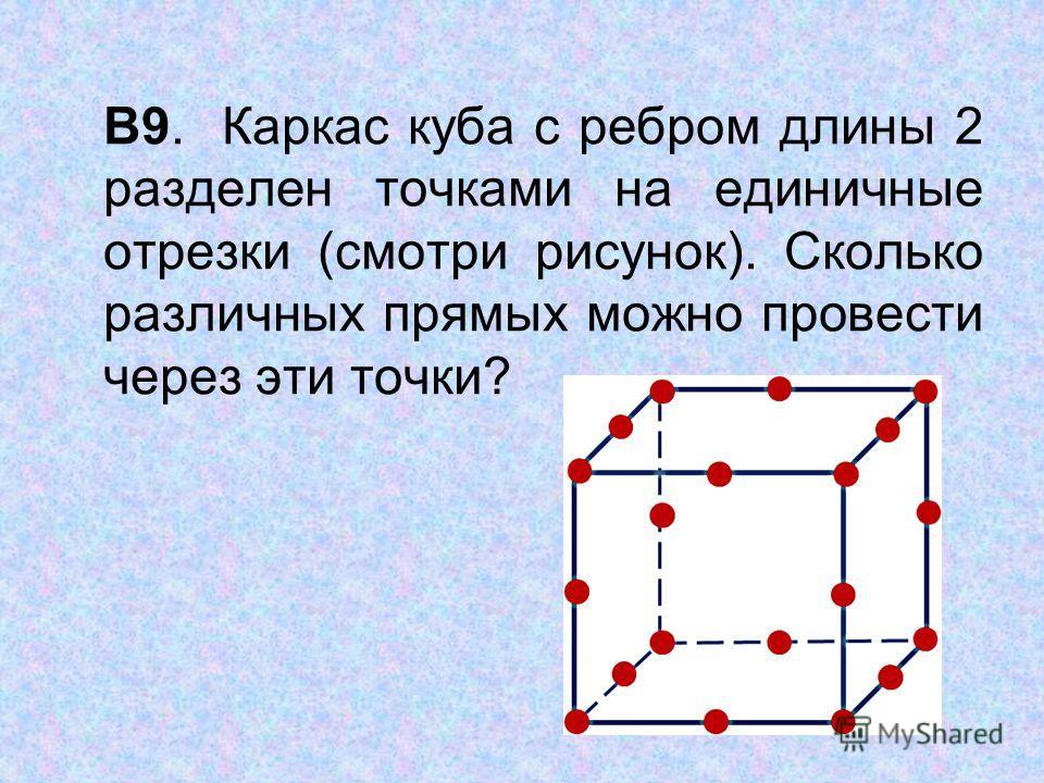 В9. Каркас куба с ребром длины 2 разделен точками на единичные отрезки (смотри рисунок). Сколько различных прямых можно провести через эти точки?