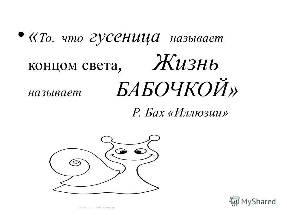 « То, что гусеница называет концом света, Жизнь называет БАБОЧКОЙ» Р. Бах «Иллюзии»