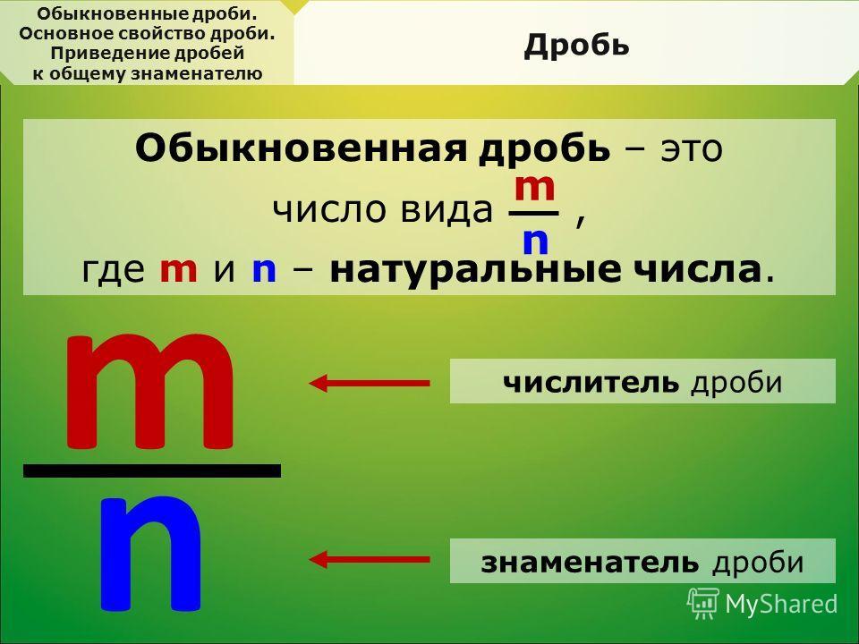 Обыкновенная дробь – это число вида, где m и n – натуральные числа. Обыкновенные дроби. Основное свойство дроби. Приведение дробей к общему знаменателю Дробь m n m n числитель дроби знаменатель дроби