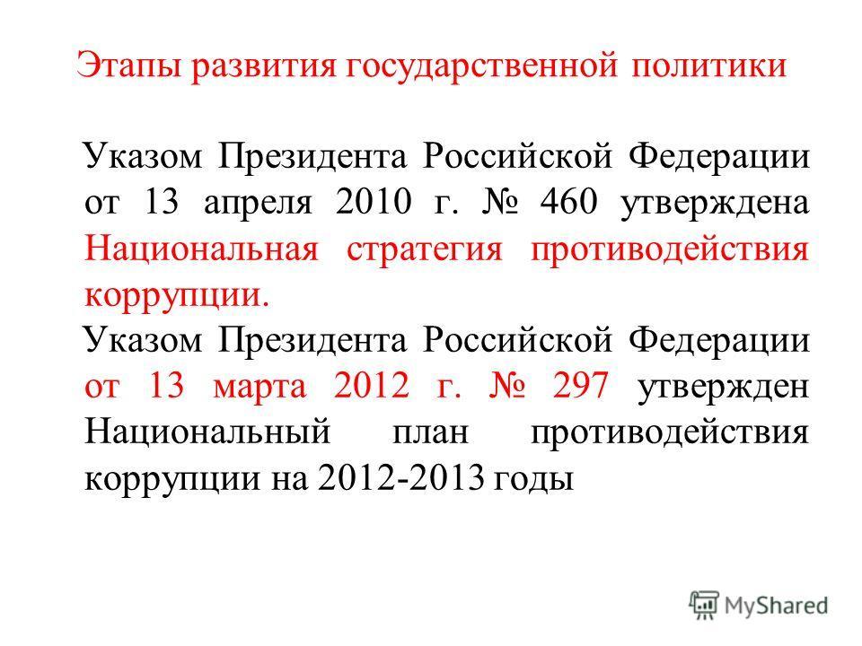 Этапы развития государственной политики Указом Президента Российской Федерации от 13 апреля 2010 г. 460 утверждена Национальная стратегия противодействия коррупции. Указом Президента Российской Федерации от 13 марта 2012 г. 297 утвержден Национальный