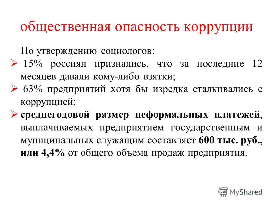 3 общественная опасность коррупции По утверждению социологов: 15% россиян признались, что за последние 12 месяцев давали кому-либо взятки; 63% предприятий хотя бы изредка сталкивались с коррупцией; среднегодовой размер неформальных платежей, выплачив