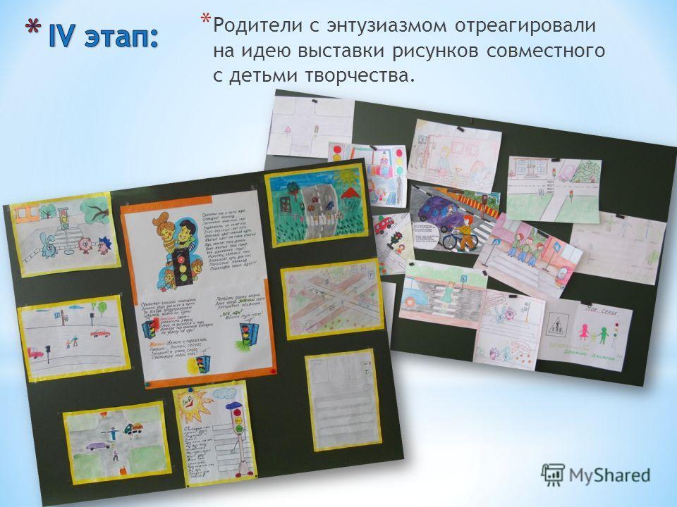 * Родители с энтузиазмом отреагировали на идею выставки рисунков совместного с детьми творчества.