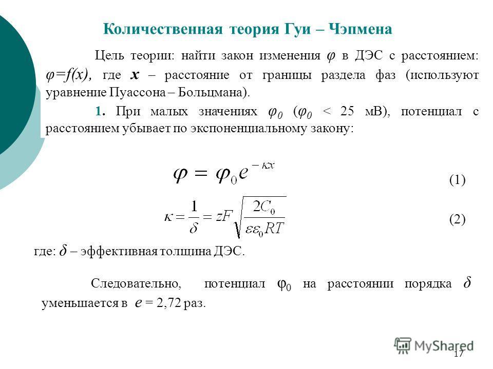 17 Количественная теория Гуи – Чэпмена Цель теории: найти закон изменения φ в ДЭС с расстоянием: φ=f(х), где х – расстояние от границы раздела фаз (используют уравнение Пуассона – Больцмана). 1. При малых значениях φ 0 ( φ 0 < 25 мВ), потенциал с рас