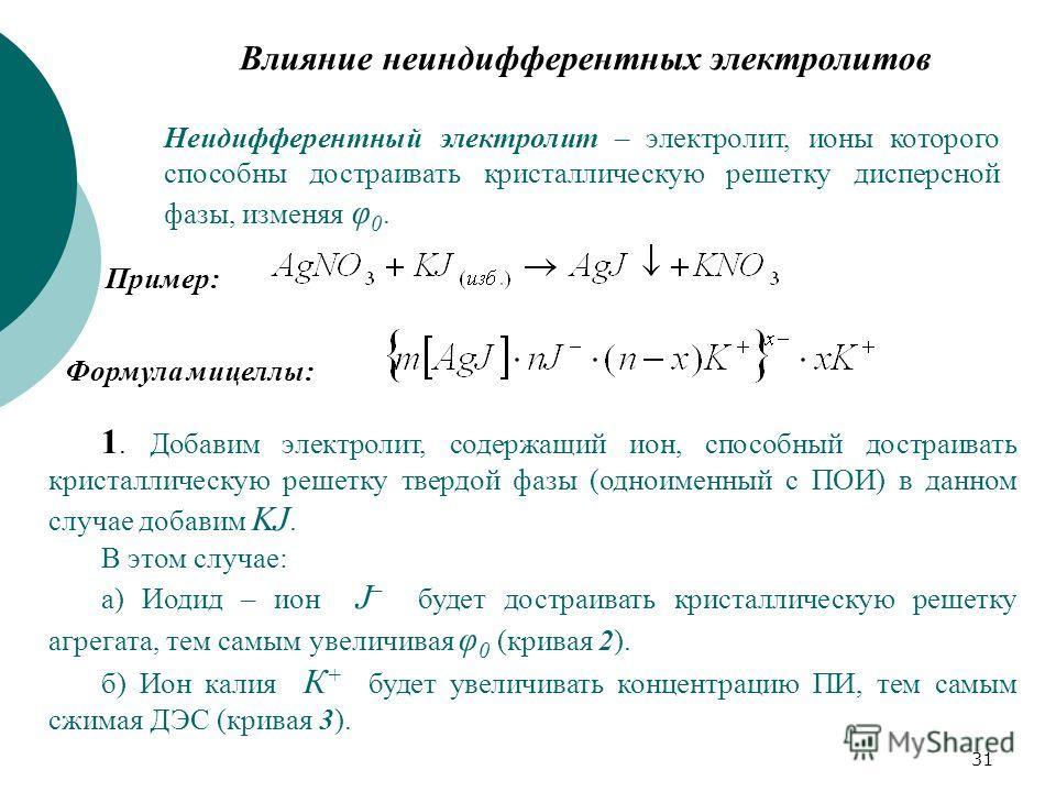 31 Влияние неиндифферентных электролитов Неидифферентный электролит – электролит, ионы которого способны достраивать кристаллическую решетку дисперсной фазы, изменяя φ 0. Пример: Формула мицеллы: 1. Добавим электролит, содержащий ион, способный достр